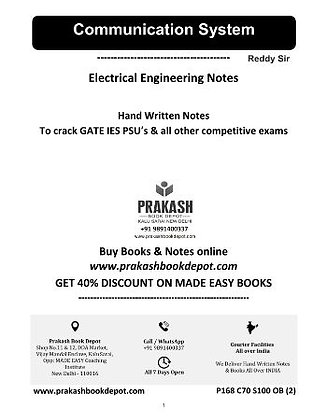 Electrical Engineering Notes: Communication System