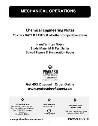 Chemical Engineering Notes: Mechanical Operations