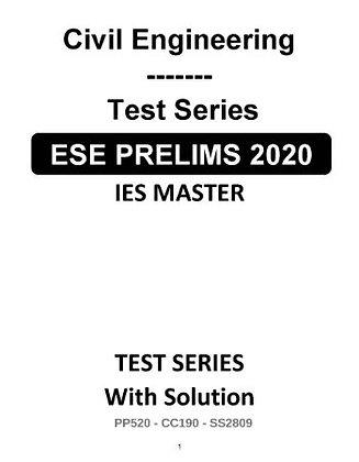 Civil Engineering ESE Prelims (Obj.) Test Series 2020 - IES Master