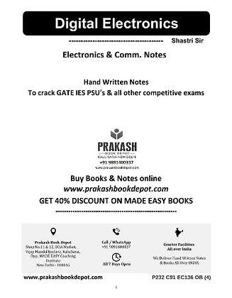 Electronics & Comm Notes: Digital Electronics