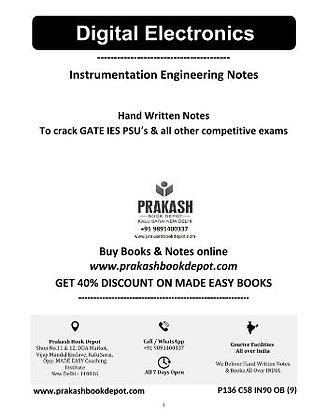 Instrumentation Engineering Notes: Digital Electronics