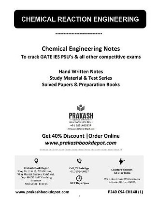 Chemical Engineering Notes: Chemical Reaction Engineering