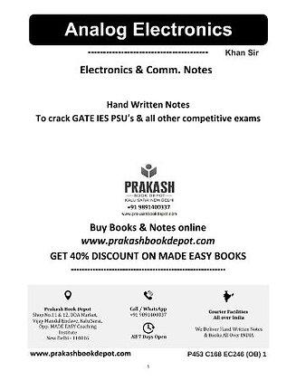 Electronics & Comm Notes: Analog Electronics