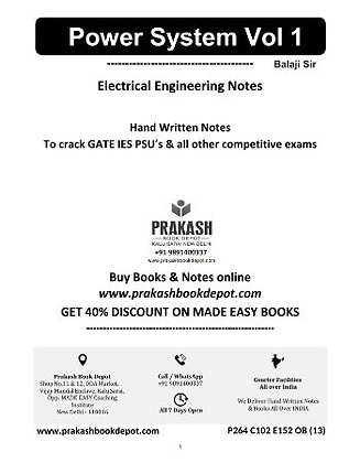 Electrical Engineering Notes: Power System Vol 1