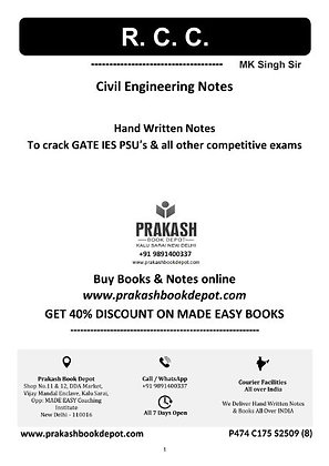 Civil Engineering Notes: RCC & Pre-Stressed Concrete