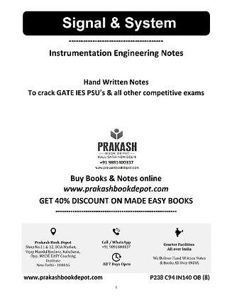 Instrumentation Engineering Notes: Signal & system