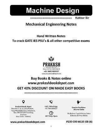 Mechanical Engineering Notes: Machine Design