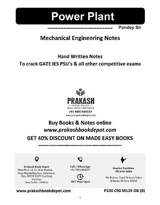 Mechanical Engineering Notes: Power Plant Engineering