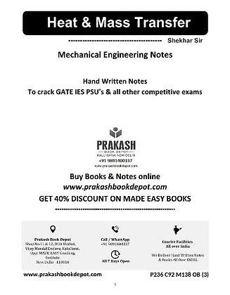 Mechanical Engineering Notes: Heat & Mass Transfer
