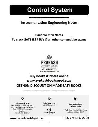 Instrumentation Engineering Notes: Control System