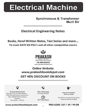 Electrical Engg. Notes: Electric Machine Vol 1 Transducers & Sync: Murli Sir