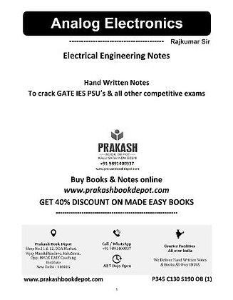 Electrical Engineering Notes: Analog Electronics
