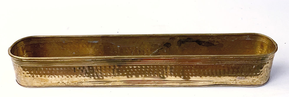 Large hammered vintage brass container
