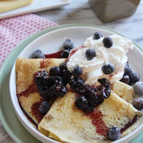 blueberry foster crepes