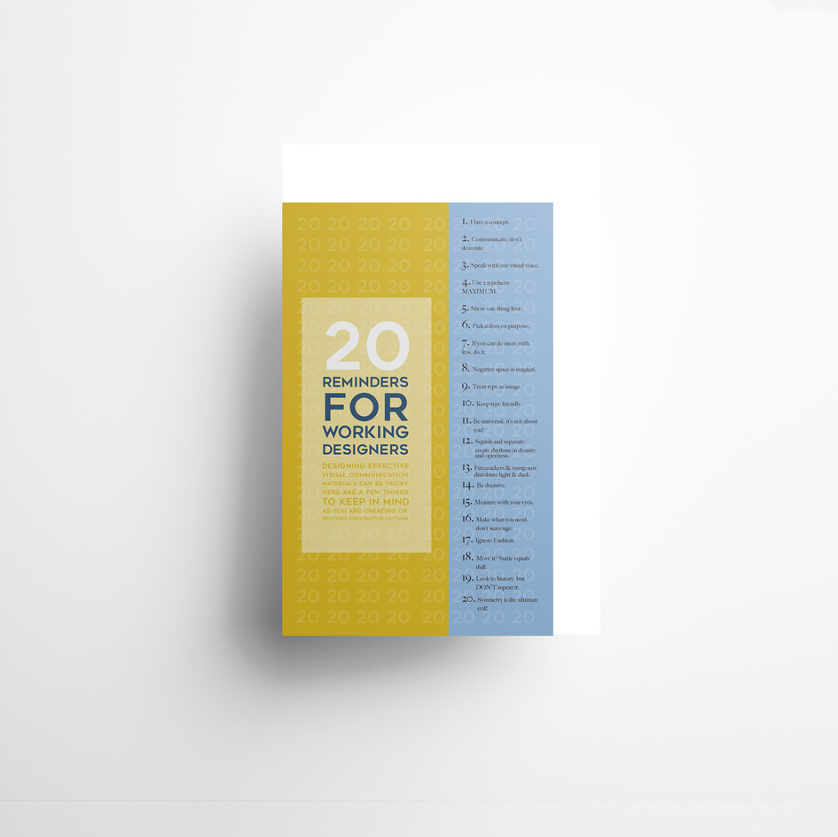 20 Reminders for Working Designers