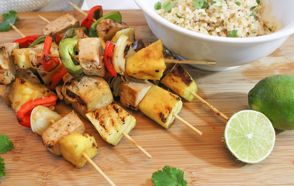 marinated tofu skewers with vegetables and cilantro lime rice