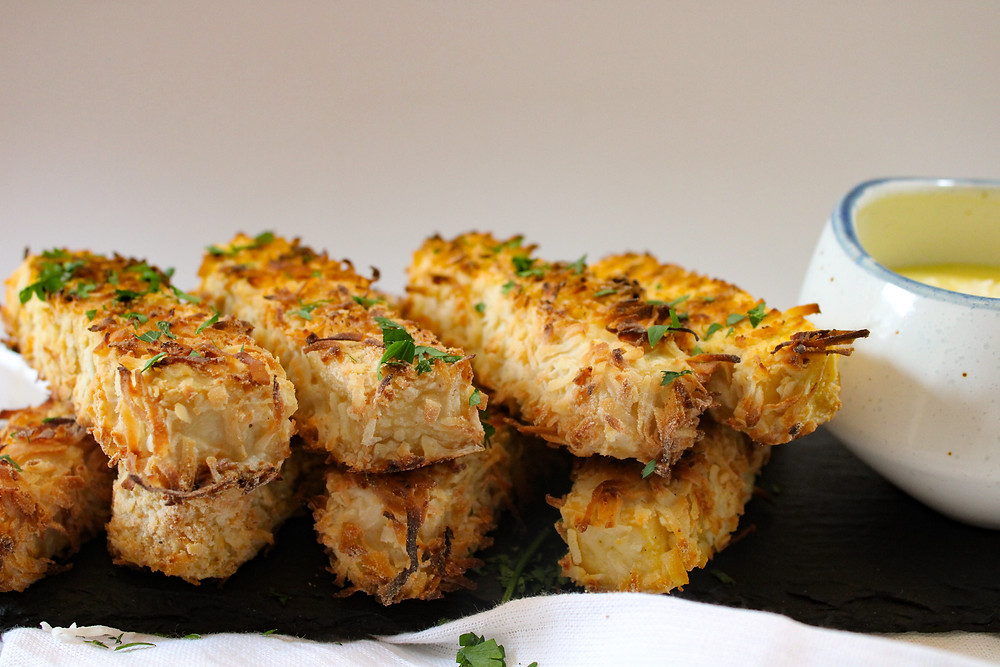 coconut covered tofu gluten free with pineapple ginger sauce