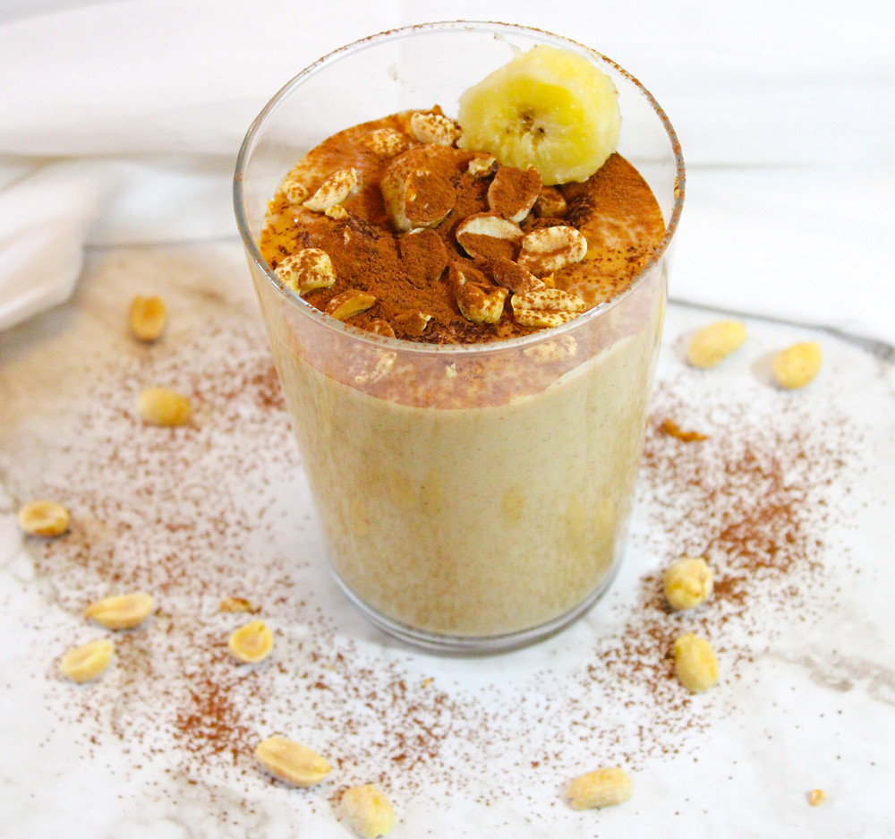 banana smoothie with peanut butter and cauliflower