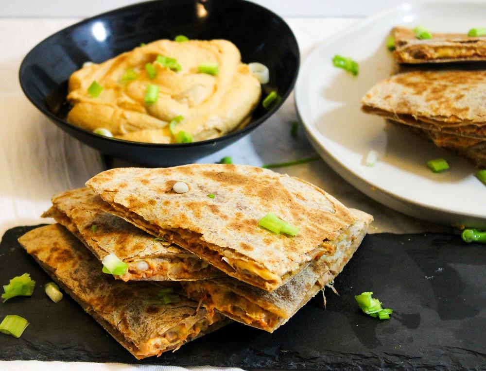 vegan jackfruit quesadillas