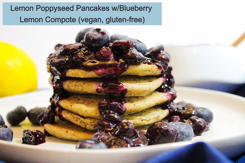 Lemon Poppyseed Pancakes with Blueberry Lemon Compote