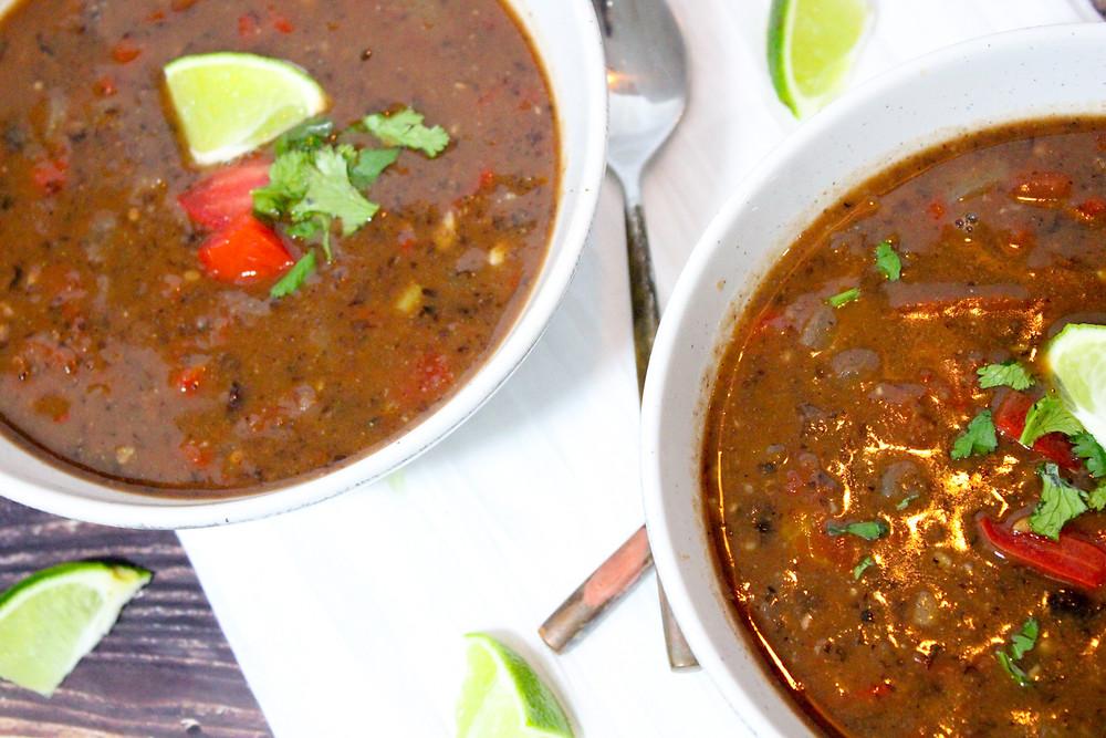 One-Pot Black Bean Soup vegan gluten free oil-free