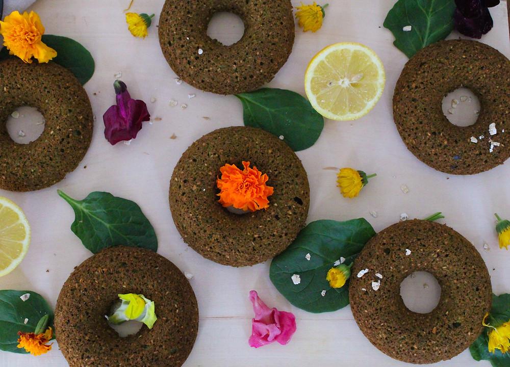 gluten-free pineapple spinach banana donuts