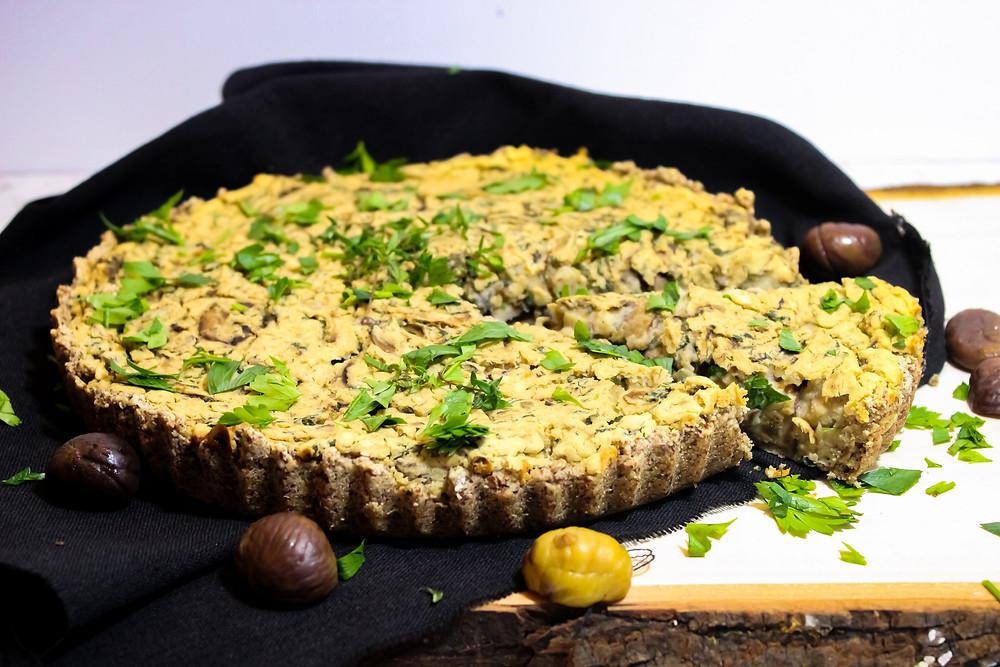 oil free white bean mushroom chestnut leek tart