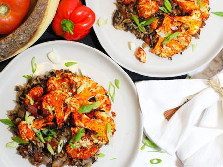 Roasted Harissa Cauliflower with Wild Rice Medley