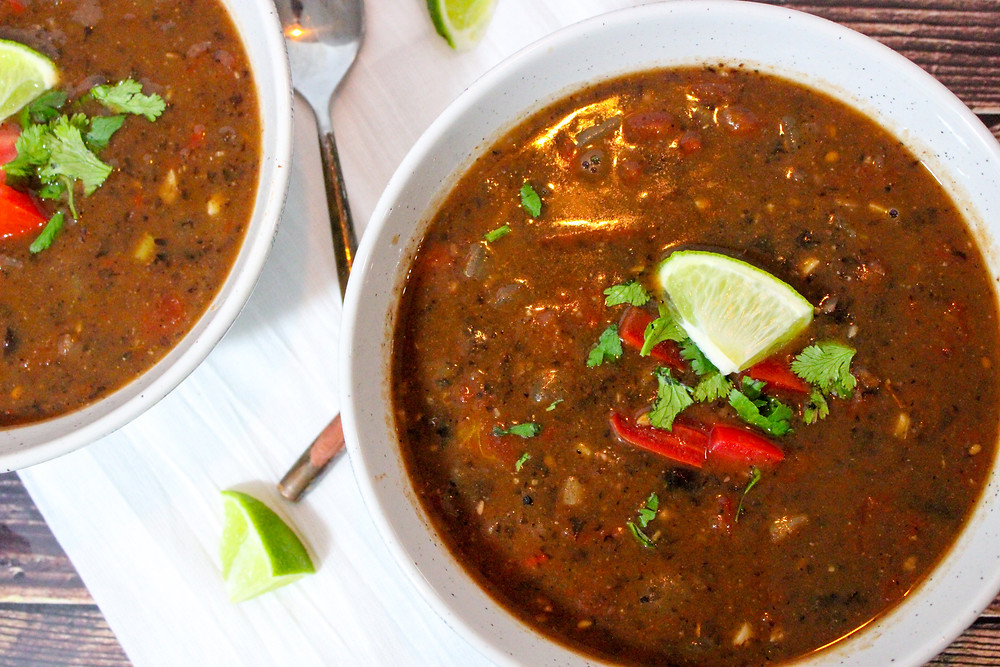 Plant-Based Black Bean soup with vegetable broth and roasted red peppers