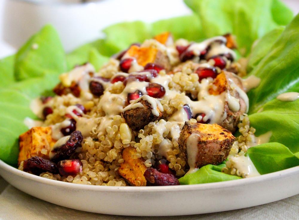 quinoa salad sweet potatoes shallots dried cranberries