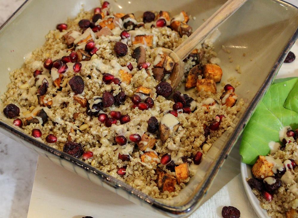 quinoa salad pine nuts sweet potatoes pomegranate seeds