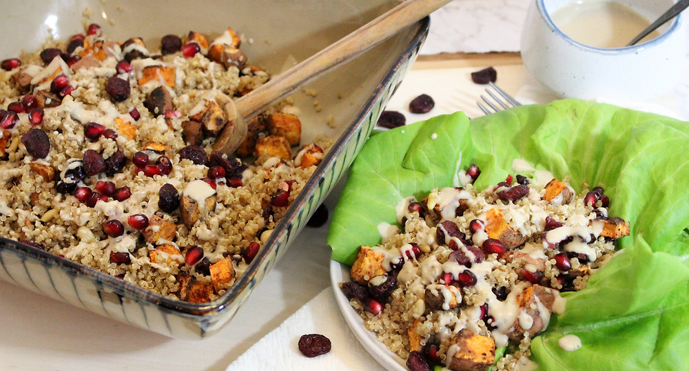 quinoa salad with pomegranate cranberries an shallots