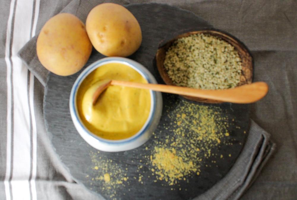 potato carrot broth plant-based cheese sauce