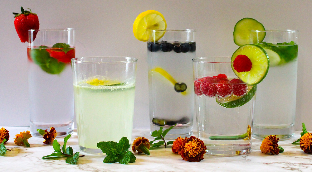 flavored waters with fruits and herbs