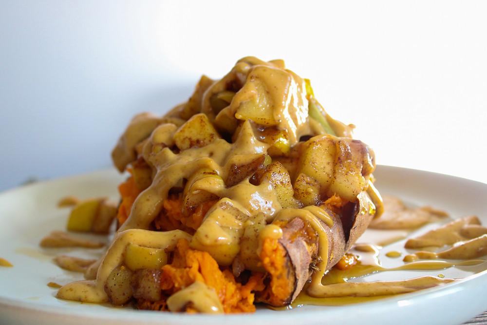 sweet potato breakfast with apples cinnamon peanut butter