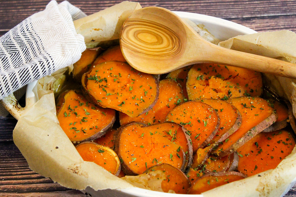 sweet potato rounds with maple syrup, miso paste, ginger and vegetable broth