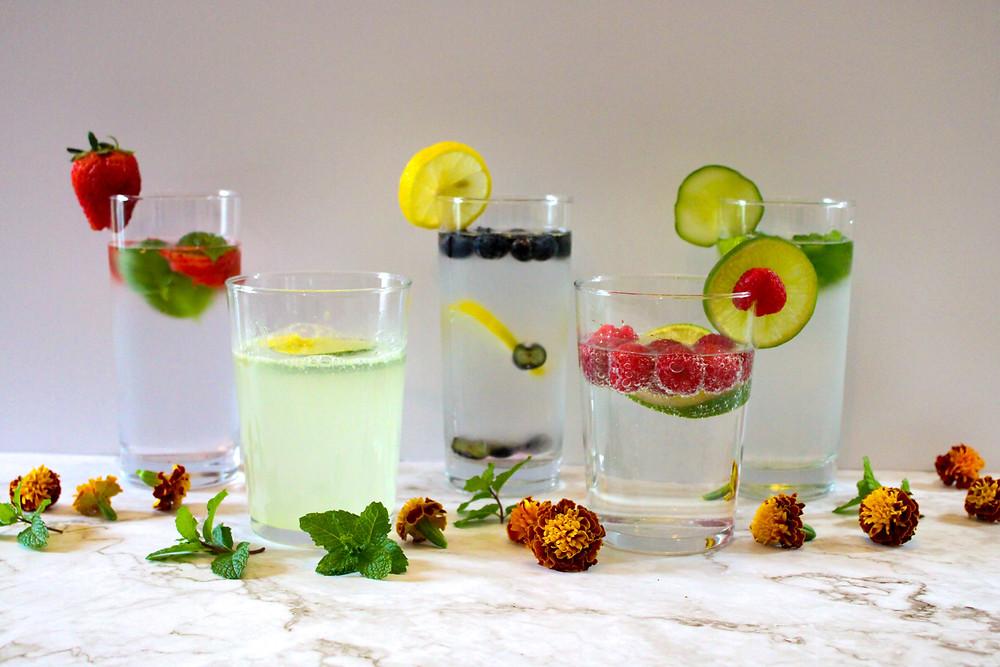 Infused waters fruit, cucumbers, herbs