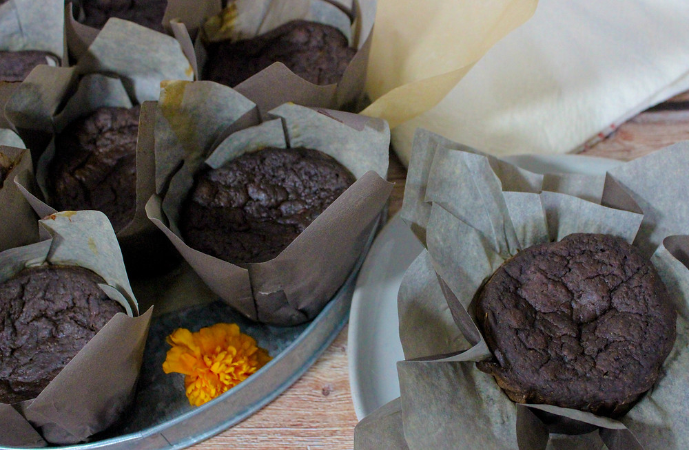 chocolate porter beer oil-free refined sugar free muffins