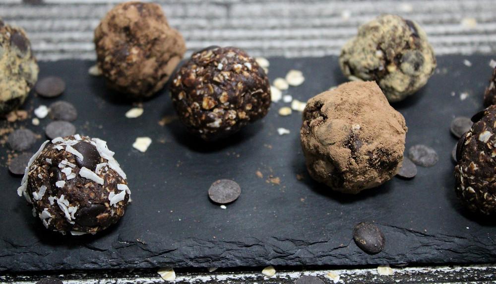 vegan chocolate chocolate chip tahini balls