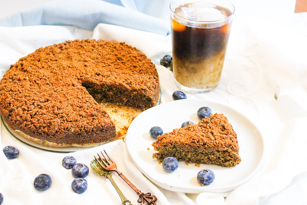 buckwheat and oat flour coffee crumb cake