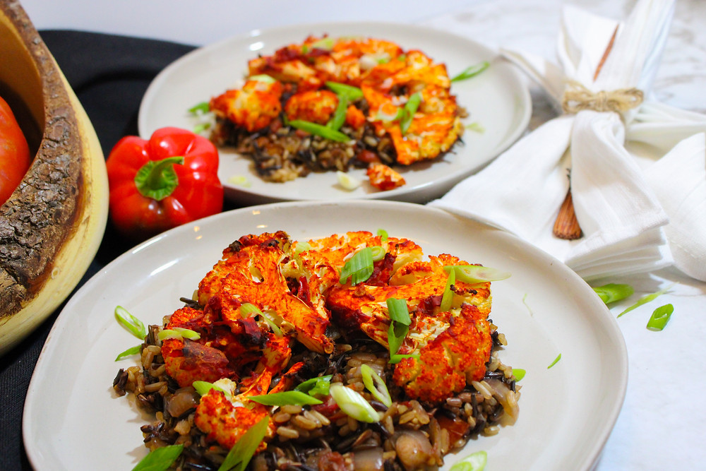 roasted cauliflower with harissa paste and wild rice