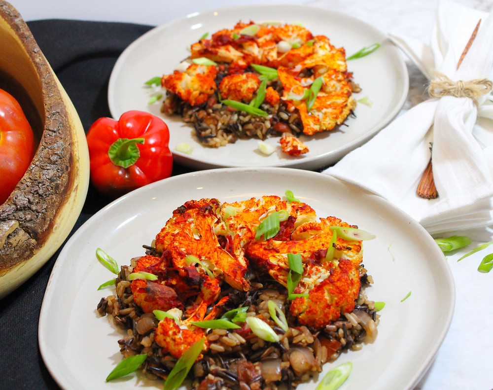 plant-based harissa cauliflower and wild rice