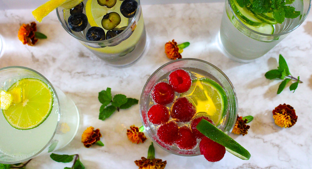 raspbery lime water, ginger lime water, cucumber mint water, blueberry lemon water, strawberry basil water,