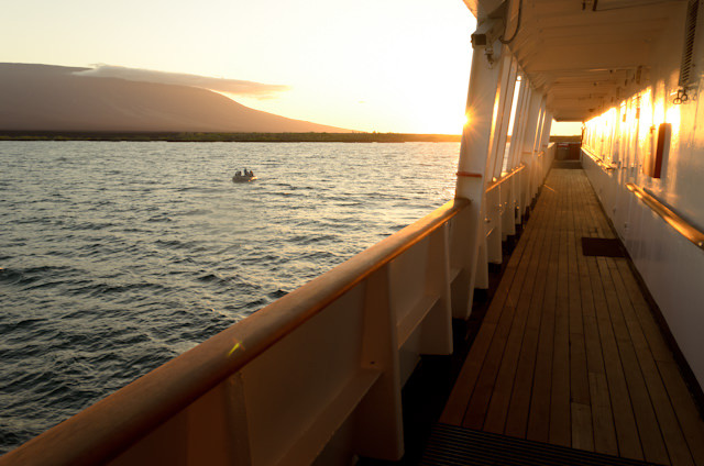 Promenade deck at sunset