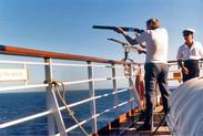 Skeet shooting while at sea