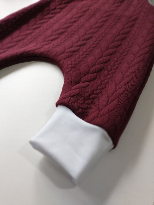 Burgundy Cable Knit Dungarees