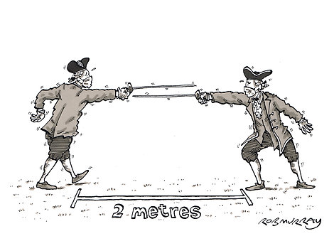Socially-distanced duel