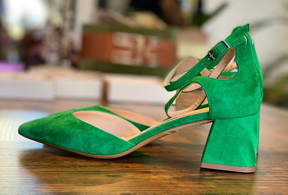 Chanel color Verde in Camoscio con tacco grosso - ULTIMO N.39