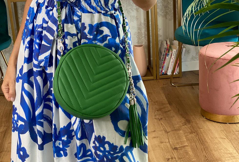 Round Bag color Verde in Pelle con tracolla