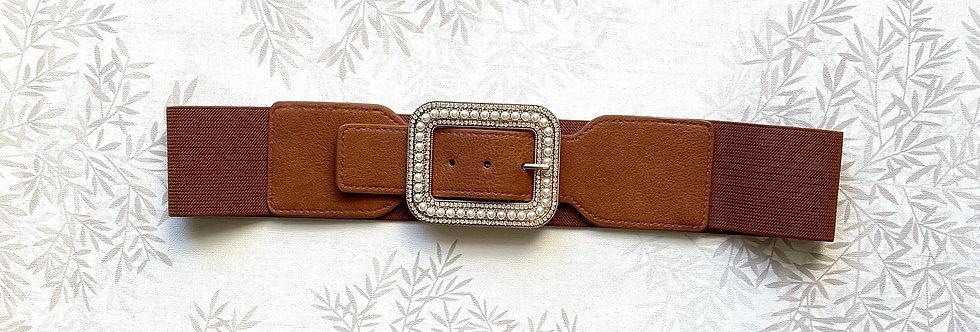 Cintura FP - TABACCO  e Fibbia Oro con perle elasticizzata
